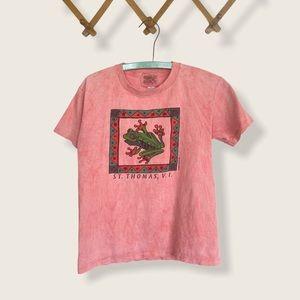 🍋Vtg 90s 1996 GUAVA BEACH Frog T-Shirt St. Thomas